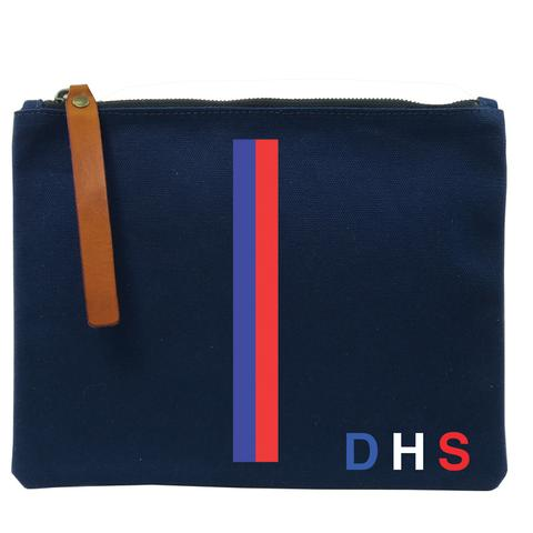 Parker Thatch Mimi Flat Clutch- Navy- Wes Anderson Stripe- French Blue/Red