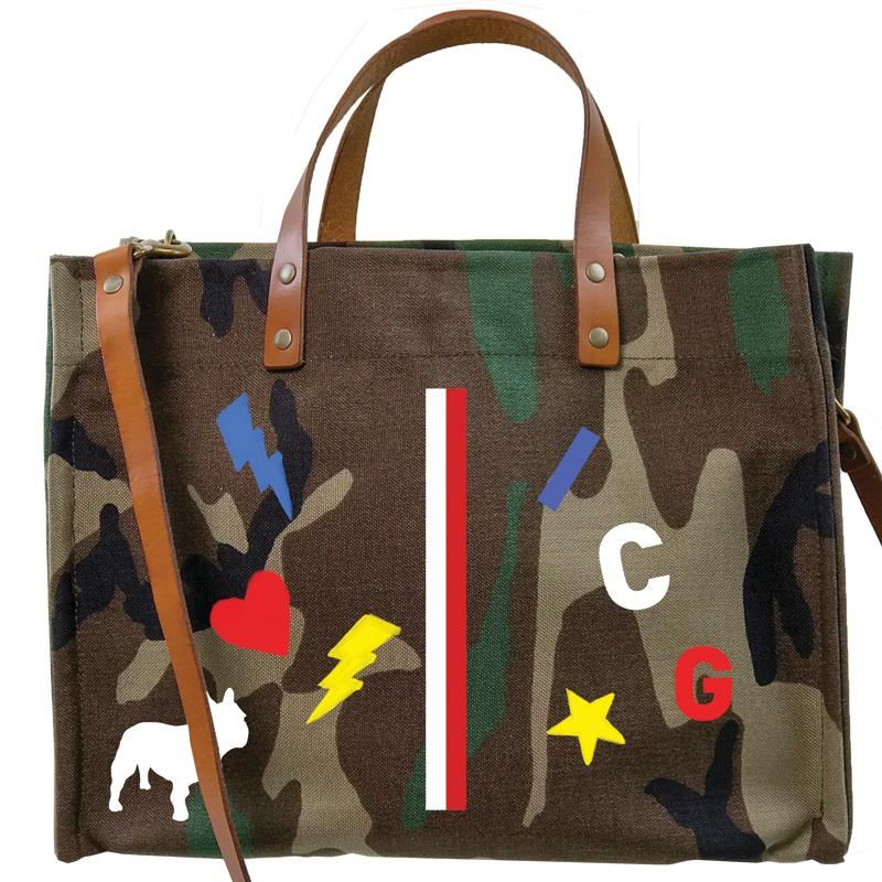 Parker Thatch Mimi Tote - Camo and Cognac Leather - HAPPY