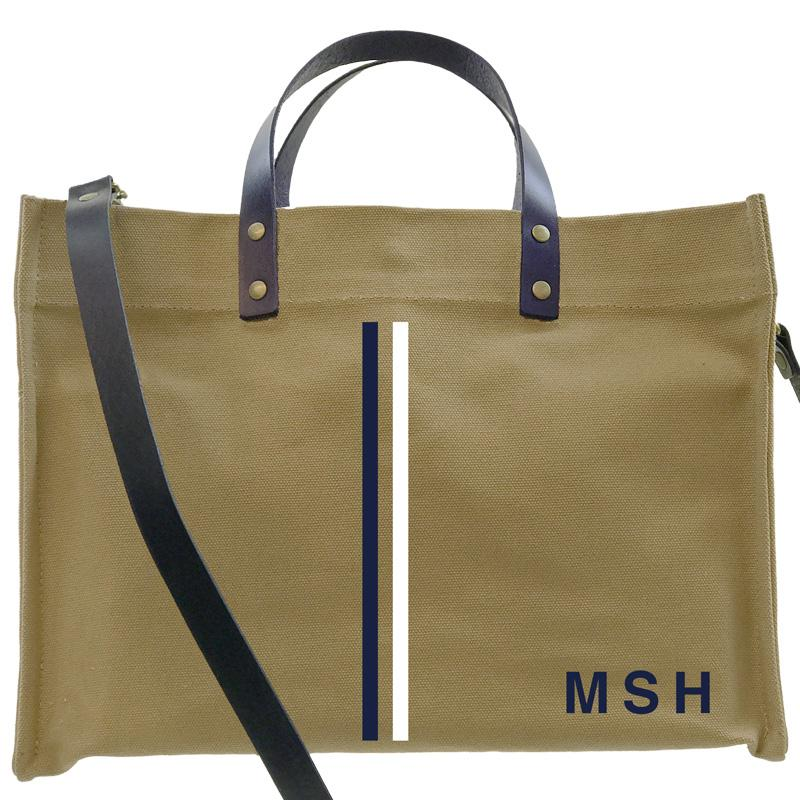 Parker Thatch Mimi Tote - Khaki with Navy Leather JFK stripe - White and Navy
