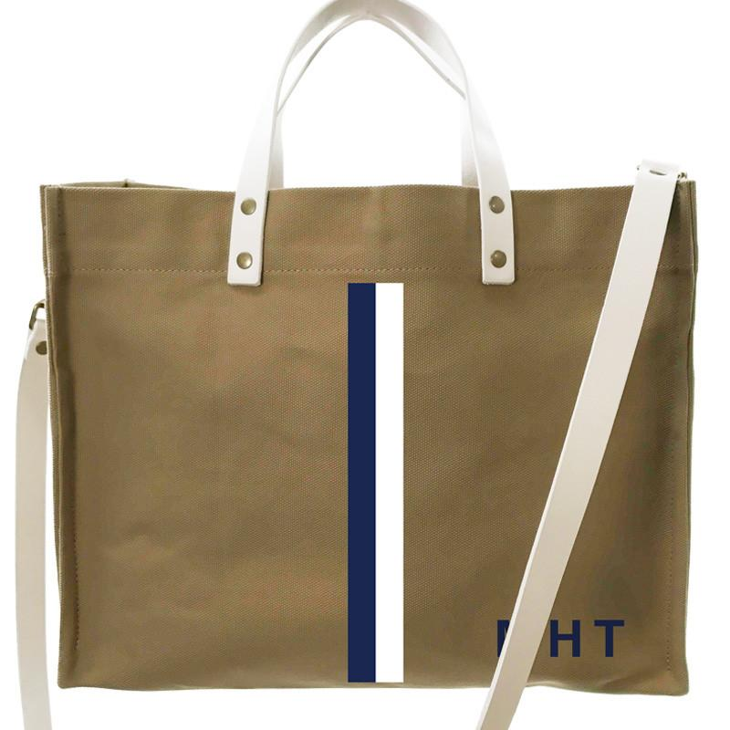 Parker Thatch Mimi Tote - British Khaki/White Leather - Wes Anderson Stripe Navy, White