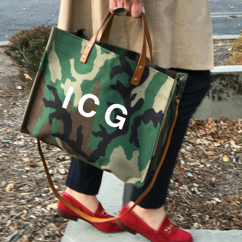 Parker Thatch Mimi Tote - Camo and Cognac Leather- BIG LETTERS White