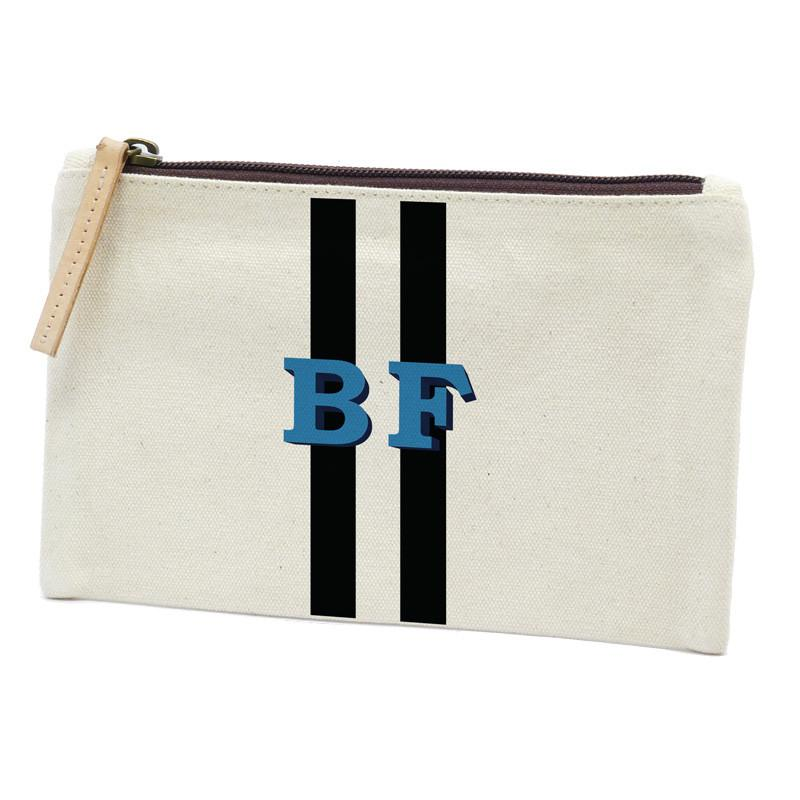 Parker Thatch Classic Clutch - Racer Stripe Black/White-French Blue Font
