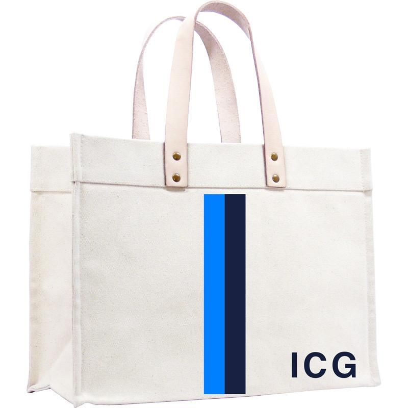 Parker Thatch Original Classic Canvas Tote - Racer Stripe French Blue and Navy