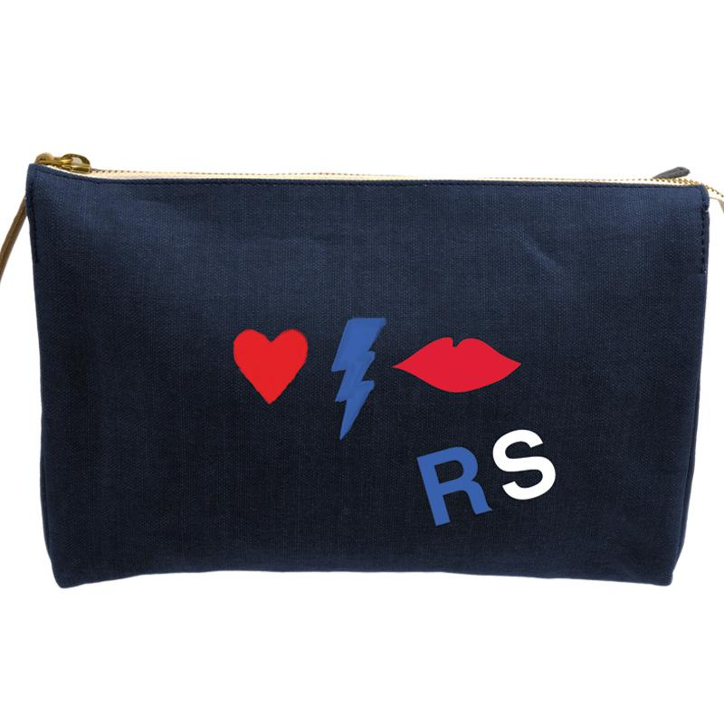 Parker Thatch-classic clutch - navy- love and kiss