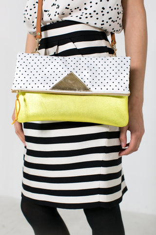 Convertible crossbody clutch in chartreuse
