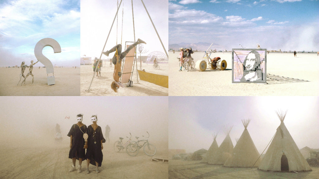 Sculptures and Teepee Burning Man 2016