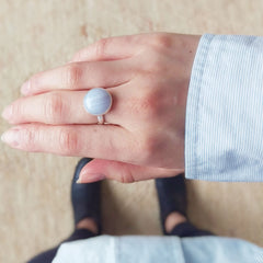 Round Blue Lace Agate Ring