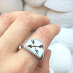 Double Arrow Etched Piano Key Sterling Silver Rings