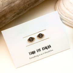 Third Eye Chakra Reflection Silver Studs