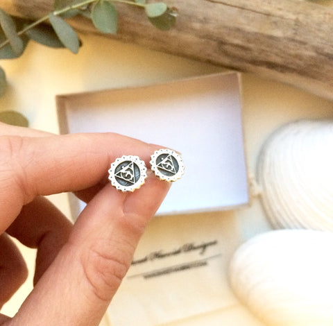 Throat Chakra Reflection Silver Studs