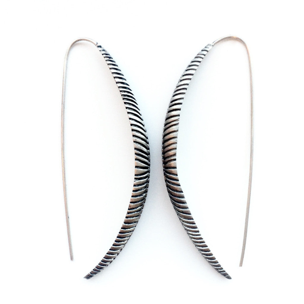 Silver Etched Long Leaf Earrings