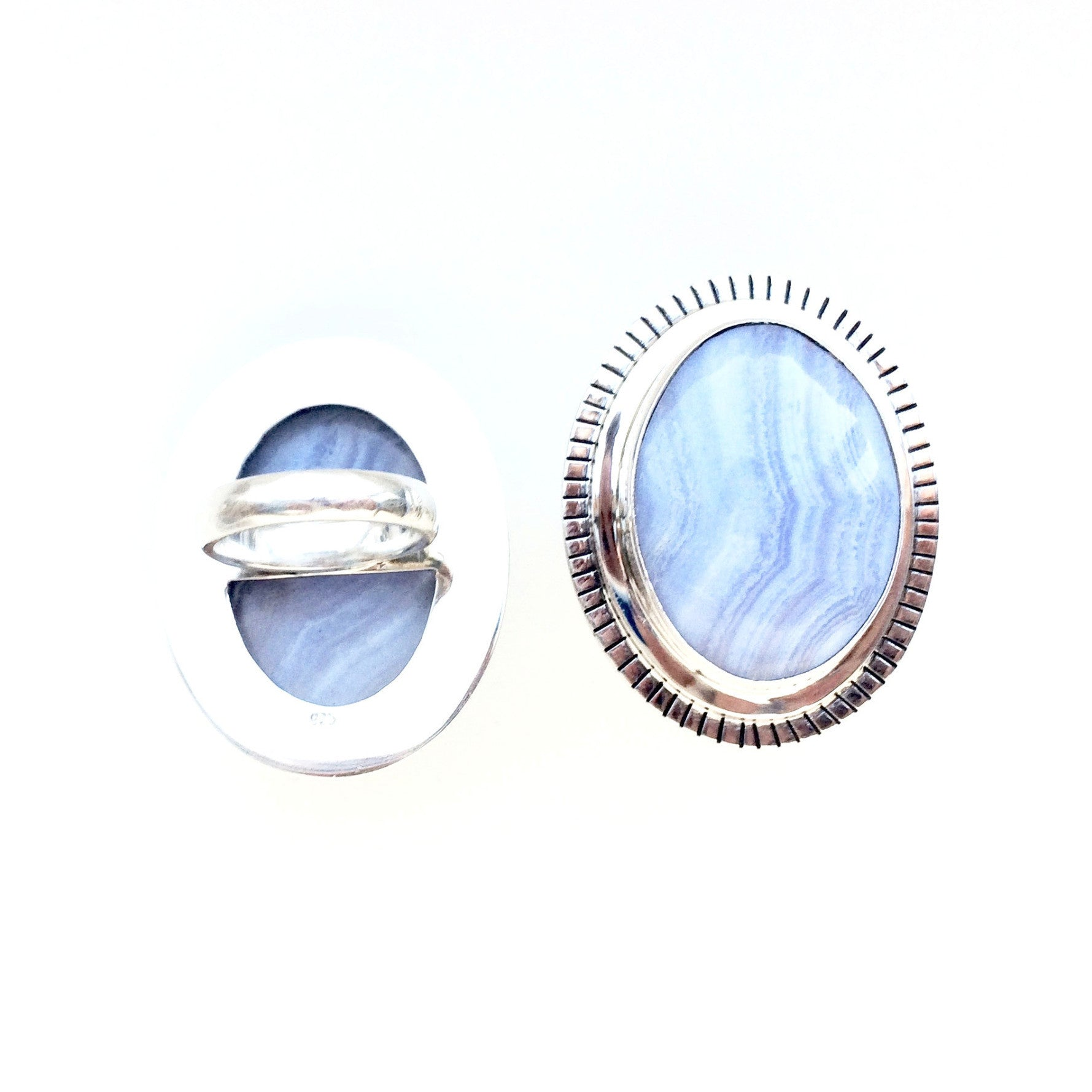 Large Blue Lace Agate Ring