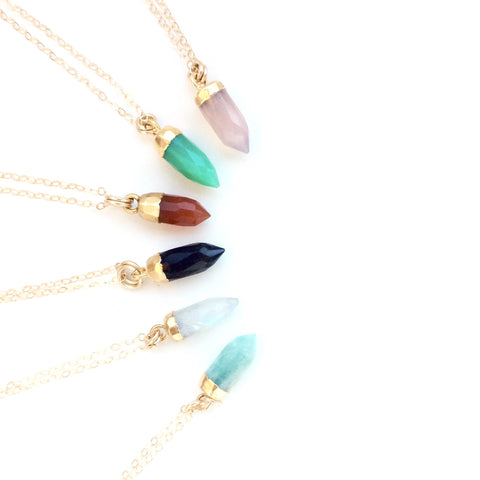 Tiny Gemstone Spike Gold Plated