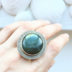 Large Round Labradorite Statement Ring