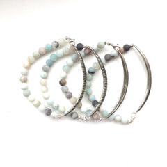 Carved Leaf Amazonite Beaded Bracelets