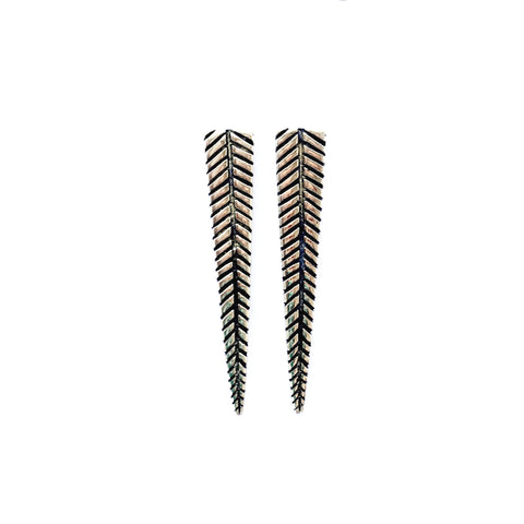 Brass Leaf Spike Earrings