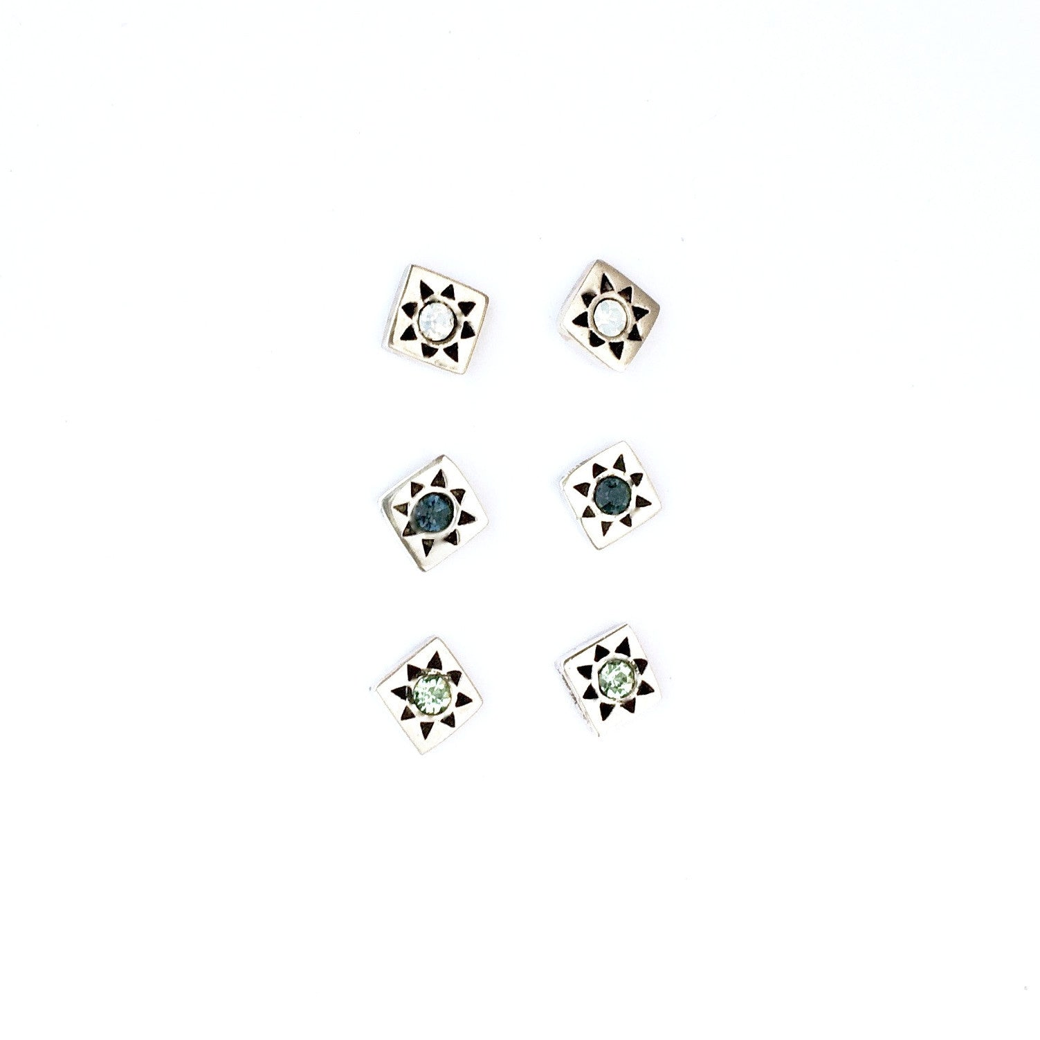 Starburst Silver Studs (Square)