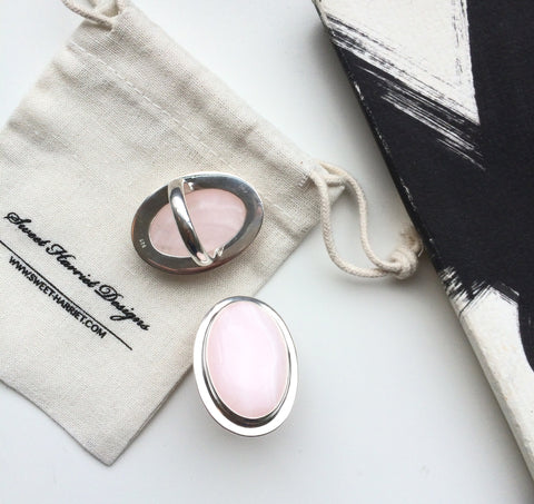 Large Rose Quartz and Sterling Silver Statement Ring
