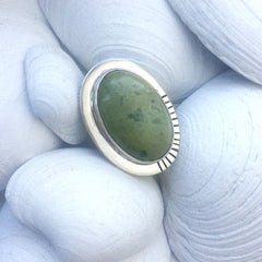 Large Gaspeite Sterling Silver Statement Ring