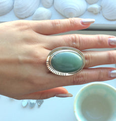 Large Jade Sterling Silver Ring