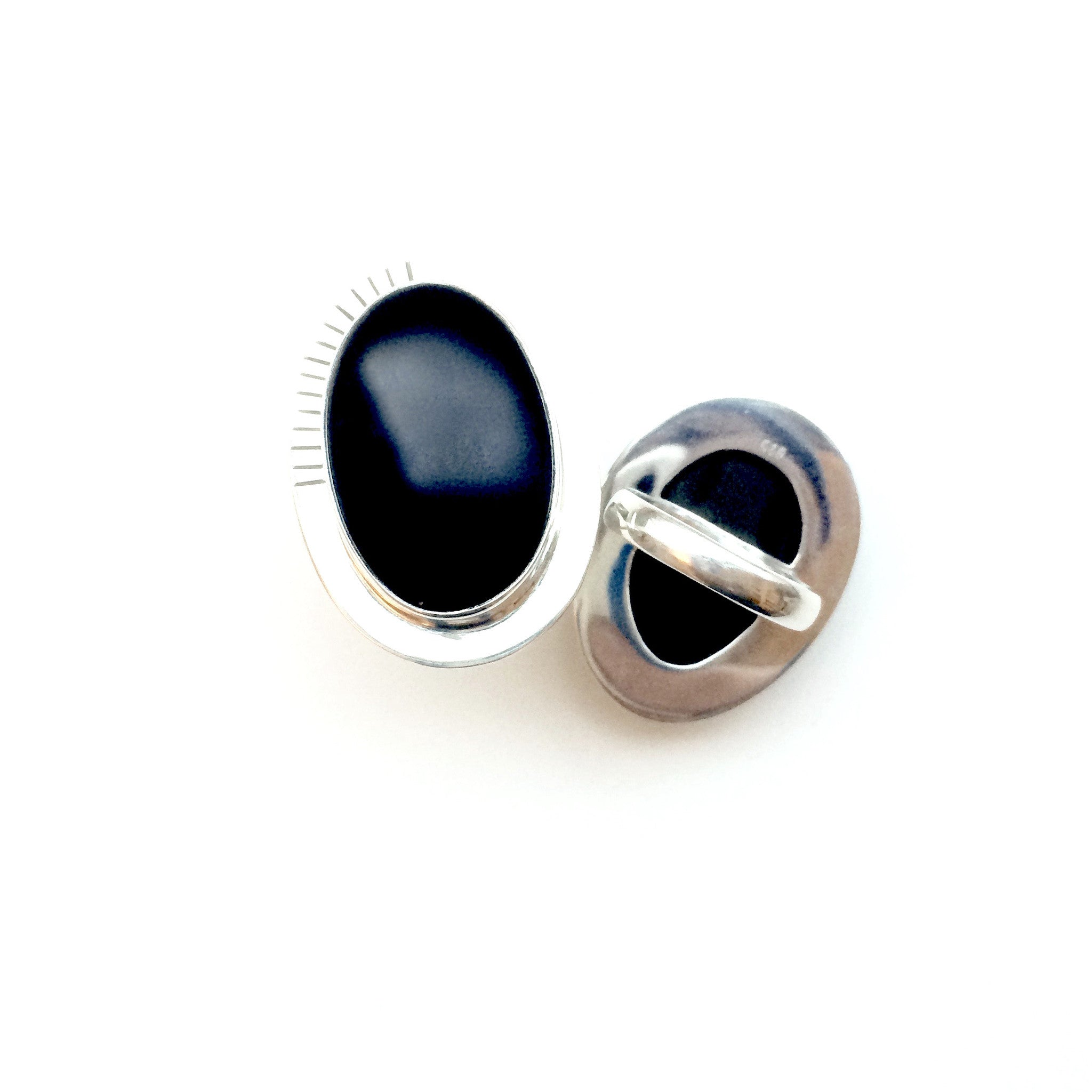 Large Black Onyx set in Asymmetrical Ring