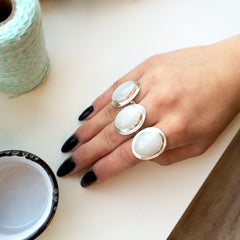 Opaque White Oval Agate Rings