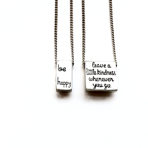 """Be Happy"" Rectangle Necklace"