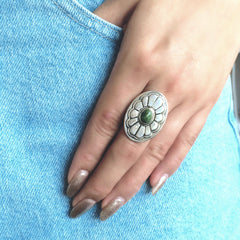 Sunflower Jade Sterling Silver Ring