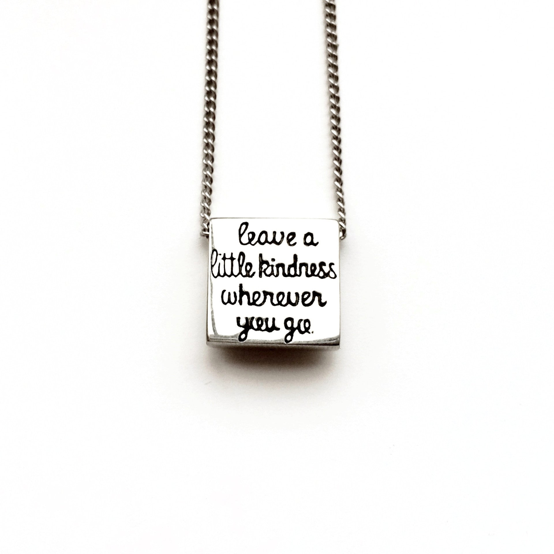 """Leave a little Kindness"" Square Necklace"