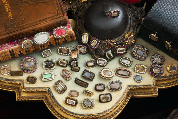 antique fichu pin collection