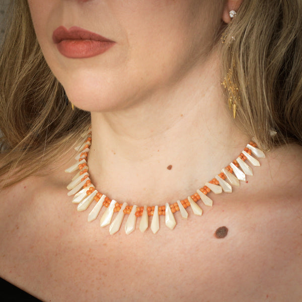 Mmmarvellous Mother of Pearl and Coral Collarette