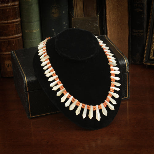 Vintage Coral Mother of Pearl Necklace