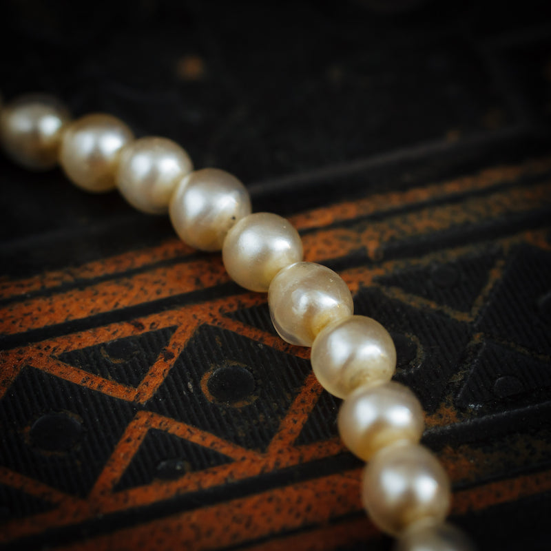 A Rare Antique Necklace of Fish Scale Glass Pearls