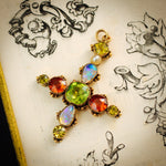 Antique Georgian Harlequin Gemstone Cross Pendant