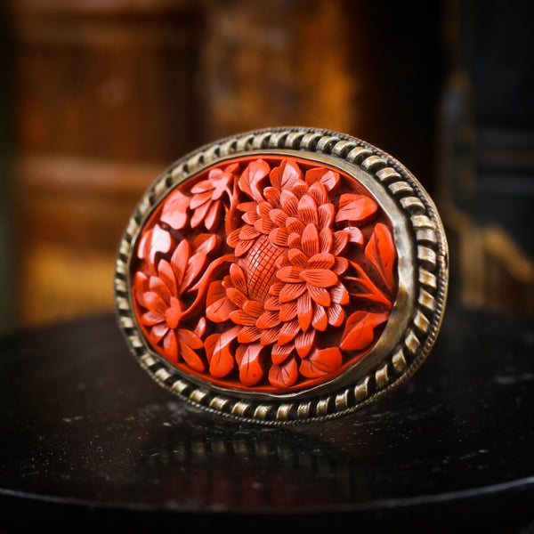 Vintage Chinese Import Carved Cinnabar Brooch