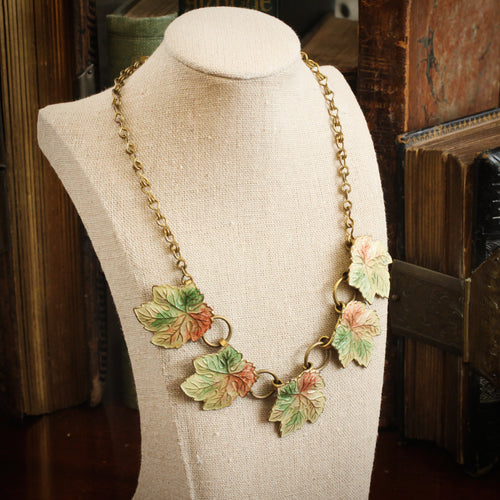 Vintage Art Deco Enamel Leaves Necklace