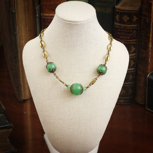 Art Deco Glass Bead Necklace