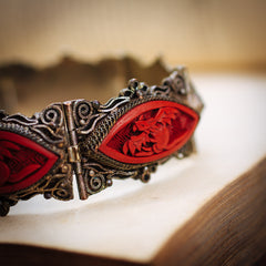 Heavenly Art Deco Chinese Cinnabar Filigree Bracelet