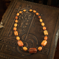 Vintage Antique Egg Yolk Baltic Amber Art Deco Necklace Beads