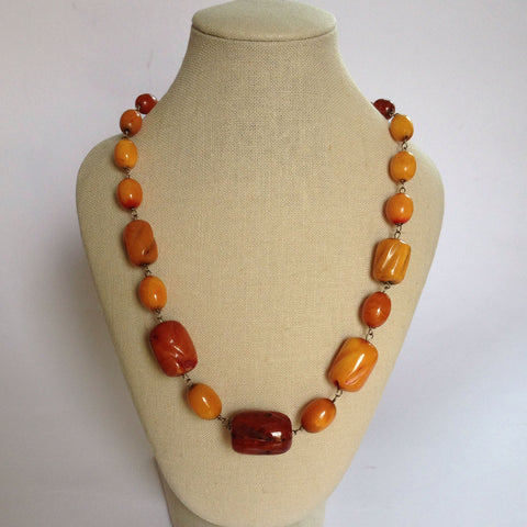 Antique 1920's Art Deco Carved Amber Necklace