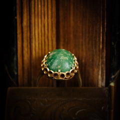 Vintage Italian 14ct Gold and Green Marble Ring