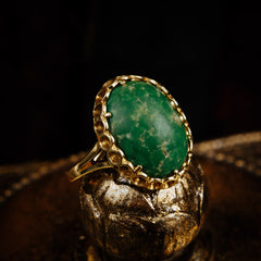 Vintage Italian 14k Gold & Green Marble Ring