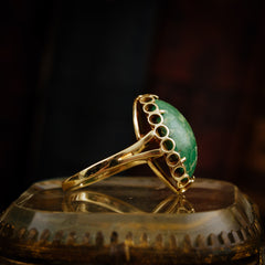 1970s 14ct Gold and Green Marble Ring