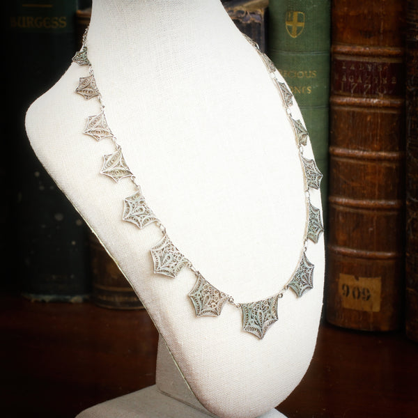 Fanciful Vintage Silver Filigree Swags Necklace