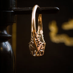 Phenomenally Pretty Edwardian Period Rose Gold Filigree Diamond Ring