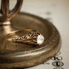 Phenomenally Pretty Antique Edwardian Period Rose Gold Filigree Diamond Ring
