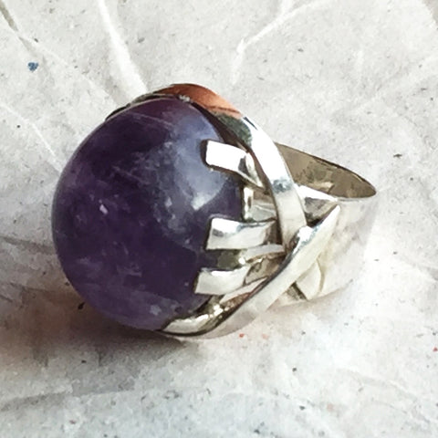 Vintage Amethyst Silver Statement Ring