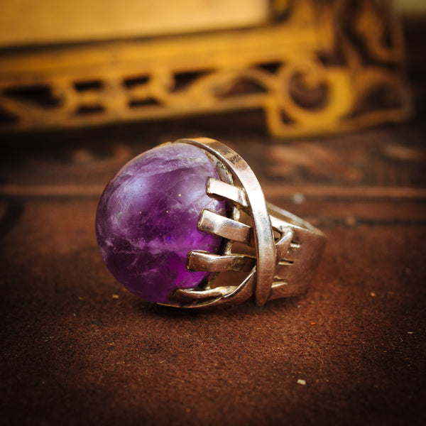 Magnificent Vintage Amethyst and Silver Dress Ring