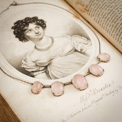 Antique Rose Quartz and Silver Necklace