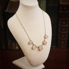 Ethereal Arts and Crafts Rose Quartz Necklace